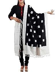 Unnati Silks Women Black-Cream Pure Handloom Pochampally Cotton Dupatta
