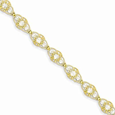 """Solid 14k Yellow & White Two Tone Gold Diamond Cut Circles Bracelet - with Secure Lobster Lock Clasp 7.25"""""""