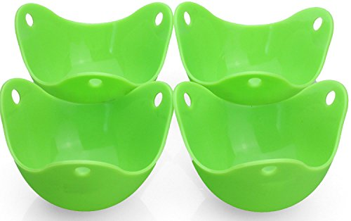 Silicone Egg Poacher,PEMOTech 4 Pack BPA Free Thick Non-Stick Silicone Egg Cookware Cups,Poaching Pods for Cooking Perfect Poached Eggs,Replace Your Microwave Egg Poacher,Egg Rings, Egg Boiler