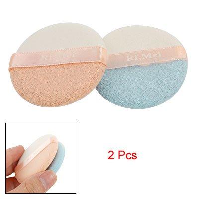 2 Pcs Round Sponge Powder Puff Facial Makeup Tool Blue White Flesh Color