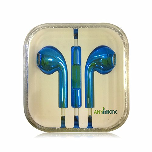 Anyphone- For Iphone4 5 Ipad3 4 Ipod Headphone Headset Earphone Earbud Volume Remote+Mic Colorful Animal Stripes (14.Electroplated Blue)