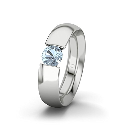 21DIAMONDS Women's Ring El Paso Blue Topaz Diamond Engagement Ring - Silver Engagement Ring