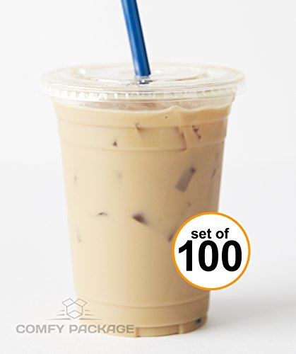 100 Sets 16 oz. Plastic CRYSTAL CLEAR Cups with Flat Lids [by COMFY PACKAGE] for Cold Drinks, Iced Coffee, Bubble Boba, Tea, Smoothie etc. (Cups With Lids And Straws compare prices)