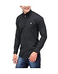 Nexq Men's Slim Fit Linen Casual Shirt (N51141_Black_Medium)