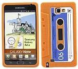 EFuture(TM) Orange Retro Stylish Cassette Tape Silicone Soft Skin Gel Case Cover for Samsung Galaxy Note i9220 N7000 +eFuture's nice Keyring