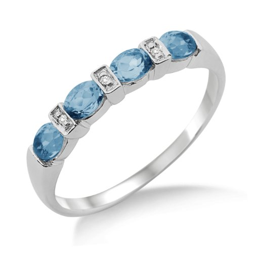 Eternity Ring, 9ct White Gold, Diamond and Blue Topaz Eternity Ring, Size N, by Miore, MT018BTRO