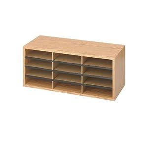 Safco Products Wood and Corrugated Literature Organizer, 12 Compartments, Medium Oak, 9401MO