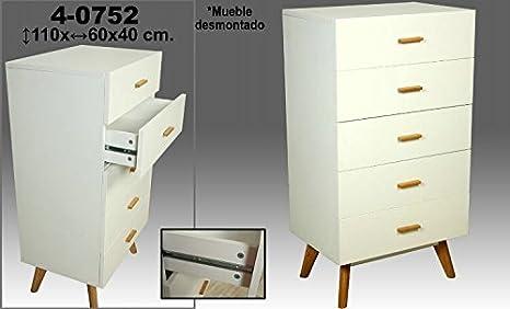 DonRegaloWeb - Mueble cajonera de madera mdf y roble con 5 cajones decorado en color blanco y roble