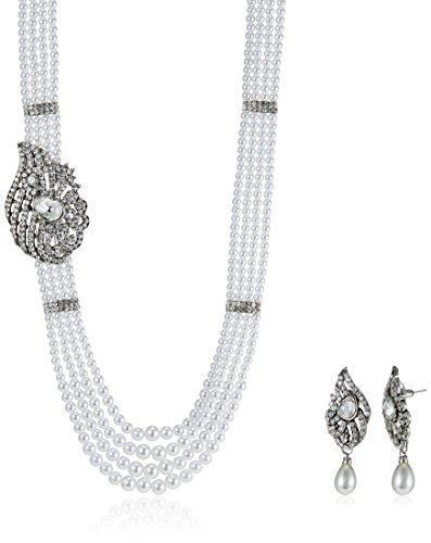 Ava Traditional Multi-strand Pearl Jewellery Set For Women (White) (S-GA-263)