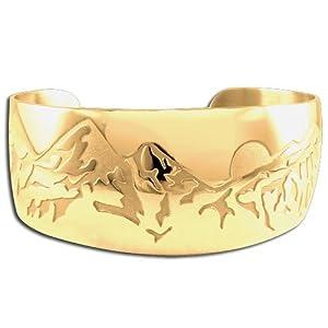 14K Yellow Gold Western Range Sun Mountain Bracelet. Made in USA.