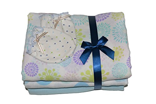 Set of 3, Beautiful Soft Baby Swaddles, With Complementary Bonus Mitts, Receiving Blankets, 47 x 47 inch, 100% Pure Cotton. (Thermal Receiving Blanket Purple compare prices)