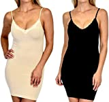 Patricia Lingerie Women's Shapewear Microfiber Stretch Control Slip Dress Black/Nude 2 Pack X-Large