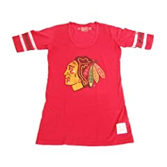 Chicago Blackhawks Ladies Stripe Scoop T-Shirt by Retro
