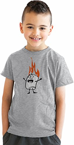Youth-Roasting-Marshmallow-Funny-Camping-Flame-T-shirt-for-Kids-Grey
