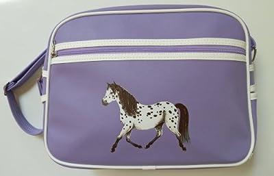 Pony Maloney retro horse school bag messenger shoulder sports bag - lilac