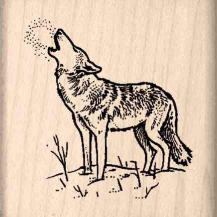Wolf Rubber Stamp - 1-1/2 inches x 1-1/2 inches
