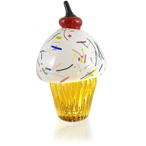 Take Handblown Glass Cupcake Sculpture Vanilla Icing