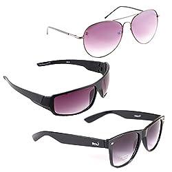 Elligator Stylish Aviator Spartiate Purple And Purple Nightvision With Black Wayfarer Sunglasses Combo ( Set of 3 )