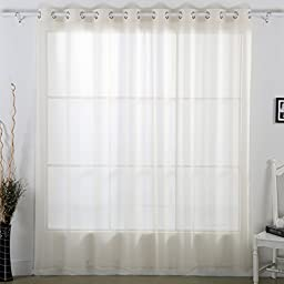 Deconovo Grommet Sheer Curtain Faux Linen Curtain Wide Width Curtain for Bedroom 100 x 84 Inch Beige 1 Panel