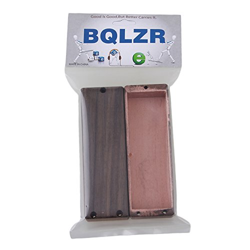 BQLZR Wooden Color 110x37x25mm Sealed N/B Pickup Cover for 5 String Bass Guitar Pack of 2