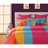 Swayam Magical Linea Stripes Cotton Double Bedsheet With 2 Pillow Covers - Multi Stripes