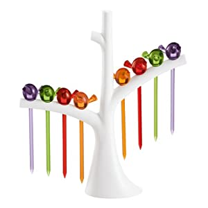 Koziol Assorted Color Appetizer Picks and White Tree Holder Party Set, 40 by 170 by 192mm