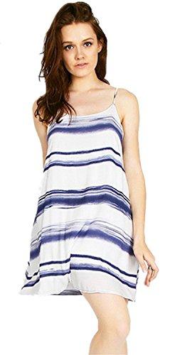 Moda Canotta Striped Stripe Cami Slip Mini Babydoll Canotte Dress Vestito Abito Bianco S