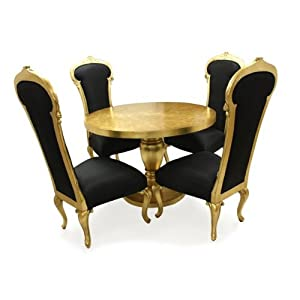French Style Furniture 39 Dauphin 39 Dining Table And 4 Chairs Gold Amaz
