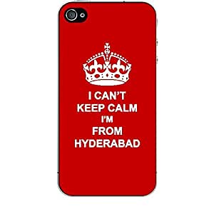 Skin4gadgets I CAN'T KEEP CALM I'm FROM HYDERABAD - Colour - Red Phone Skin for APPLE IPHONE 4