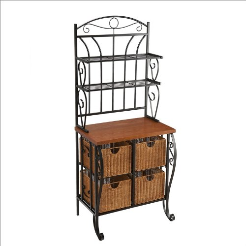 Southern Enterprises Caden Iron Baker's Rack in Black with Wicker Baskets