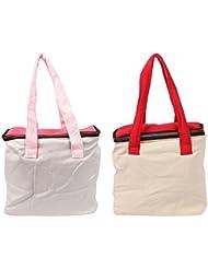 VS Exporrts Cotton 6 Liters Multi-Color Lunch Bag (Combo Of 2) - B01HZ1RER8