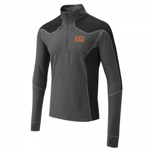 Bear Grylls Men's Bear Long Sleeve Base T-Shirt, Large, Black Pepper/Black