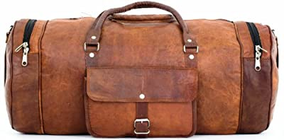 Gusti Leather Genuine Travel Holiday Trip Overnight Carry-On Holdall Gym Sports Duffle Luggage Shoulder Bag Vintage Unisex Brown R32b from Gusti Leder