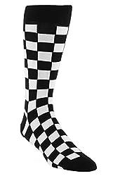 Statement Sockwear Checkered Pattern Men's Socks (Black and White)
