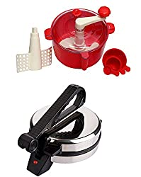 GTC COMBO OF NATIONAL ROTI MAKER WITH RED DOUGH MAKER