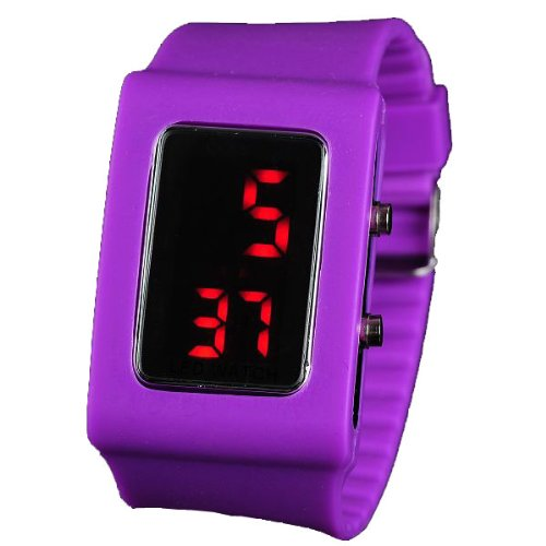 BestOfferBuy Unisex Casual Digital LED Watch Wide Silicone Band Deep Purple