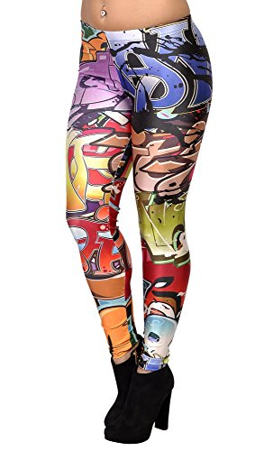 BadAssLeggings Women's Graffiti Art Leggings Medium