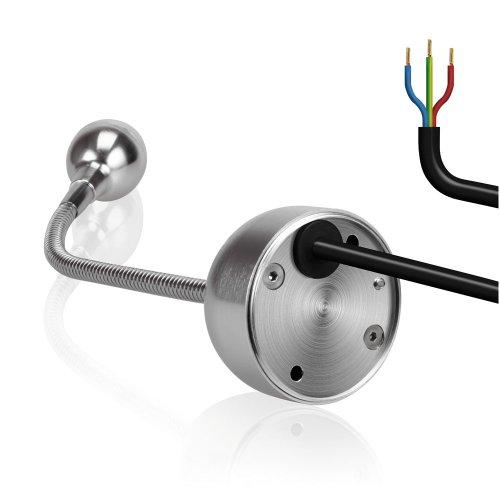 2x Applique, lampe de lecture à LED (DEL), de parlat (col de cygne flexible, avec une Power-LED blanche-chaude, en aluminium, 68 Lm, 230 V CA)