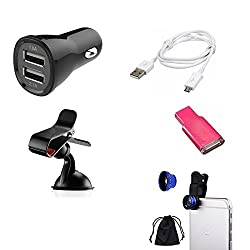 High Quality Mobile Accessories Combo of Car Charger (2 USB) + Mobile Camera Lens + Data Cable + Car Mobile Holder + Card Reader for Hi-Tech Amaze S315