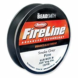 FireLine Braided Beading Thread 6lb SMOKE GREY .008 In 125 Yards by FireLine
