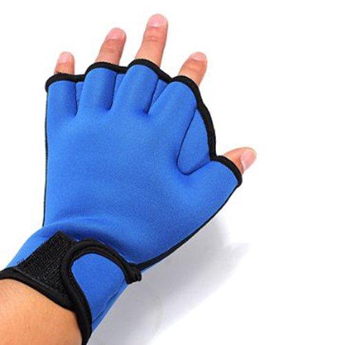 SODIAL(R) 1 Paar Schwimmhandschuhe Handschuh Schwimmen Schwimmhilfe Blau S