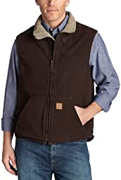 Carhartt Men\'s Big & Tall Sherpa Lined Sandstone Mock Neck Vest V33,Dark Brown,XX-Large Tall