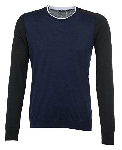 Roberto Collina uomo Pullover in bianco e nero in cotone colore blu
