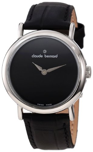 Claude Bernard Women's 21216 3P N Classic Ladies Black Dial Curved Case Leather Watch