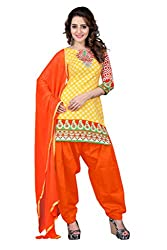 BanoRani Womens Yellow & Peach Color Cotton Printed Patiala Unstitched Dress Material
