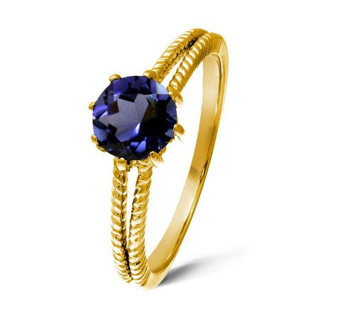 Vintage 9 ct Gold Ladies Solitaire Engagement Ring with Iolite 1.00 Carat