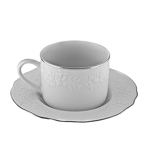 Ten Strawberry Street Vine Silver Line - 7 Oz Cup And Saucer - Set Of 6 VINE-9SL6