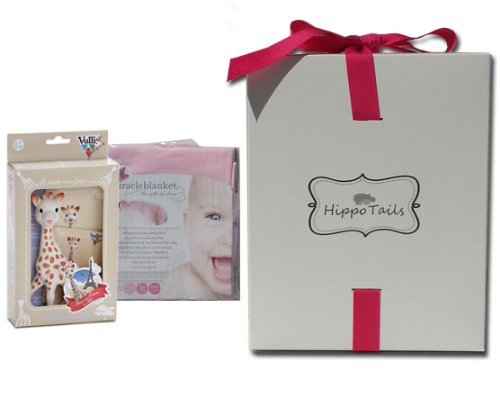 Hippo Tails Pink Miracle Blanket & Sophie Giraffe Baby Gift Set - 1