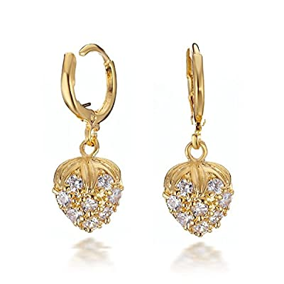 Gemini Women's Jewelry CZ Diamonds Huggie Hoop Drop Earrings for Ladies Valentine's Day Gift Idea Gm064 , Color: Yellow Gold