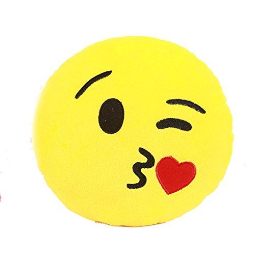 Waschbar Emoji Kissen weich füllte Plüsch Puppe Runde Emoticon Smiley Kissen Geschenk Kiss / Herz